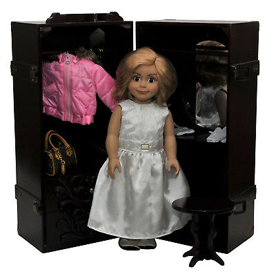 "Clothes Storage Trunk Case, Hanger For 18 "" Inch American Girl Doll Furniture MA"