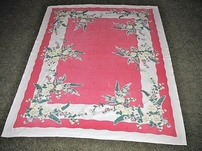 """VTG 1960'S MCM Tablecloth DEEP PINK W ROSES DAISY STRAWBERRY 48"""" x 60"""" AS IS"""