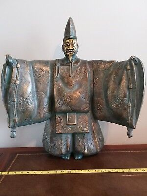 Japanese Vintage Noh Statue/Okimono  with Noh Mask. Brass statue extremely heavy