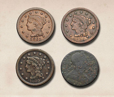 Lot of 4, Braided Hair large cent (1851, 1855, 1856) and Evasion halfpenny, 1775