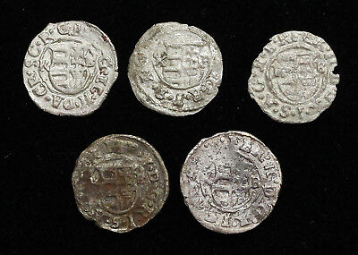 HUNGARY. Assorted lot of 5 Silver Hammered Denar, 1500-1600's