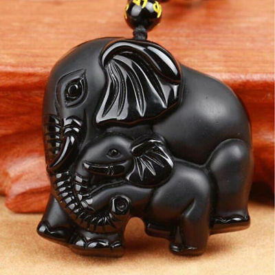 Natural Black Obsidian Hand Carved Cute Elephant Lucky Pendant Beads Necklace A