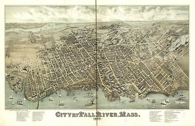 A4 Reprint of American Cities Towns States Map Fall River Mass