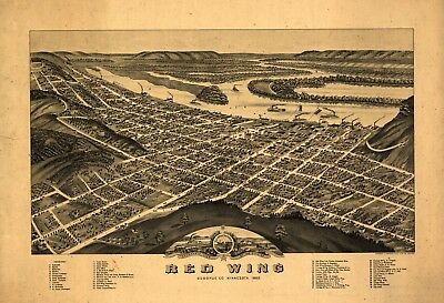 A4 Reprint of American Cities Towns States Map Redwing Goddhue Minnesota
