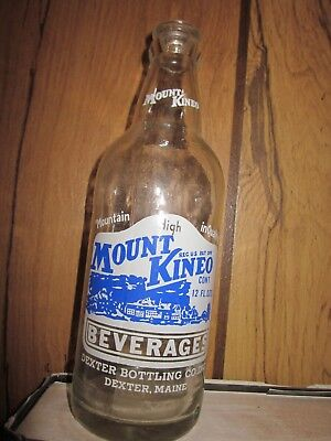 Mount Kineo Beverages 12oz Blue-W acl soda pop bottle Dexter Maine excellent
