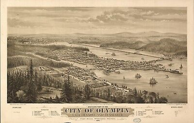 A4 Reprint of American Cities Towns States Map Olympia Washington Ter