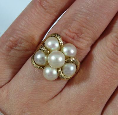 Size 5  Vintage Ladys 14kt Yellow Gold Biomorphic Pearl Cocktail Ring, NR