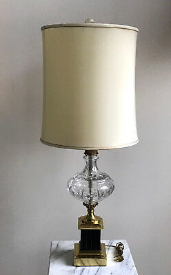 """Vintage Crystal & Brass Trophy Style Table Lamp /w Crystal Ball Finial 39"""" Tall"""