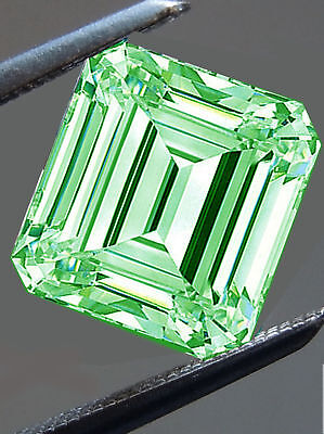 3.80ct VVS1/ICE GREEN COLOR LOOSE EMERALD REAL MOISSANITE DIAMOND 4 RING