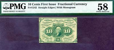HGR FRIDAY 1st Issue 10c FRACTIONAL ((BEAUTIFUL)) PMG AU-58
