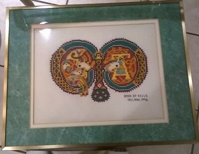 """Needlepoint With """"Book of Kells Ireland, 1996"""" Framed and Covered w/Glass"""