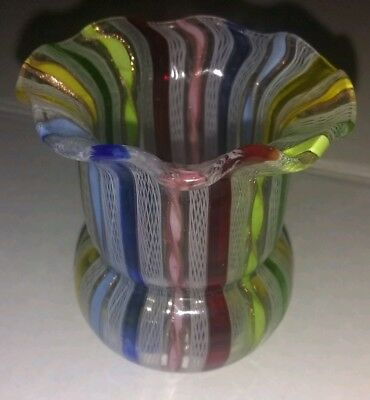 Vintage Murano Multi Color Blown Glass Toothpick Holder Latticino Ribbons 2.5""