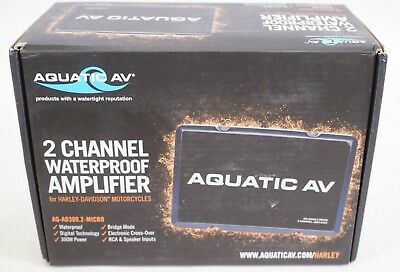 NEW Aquatic AV AQ-AD300.2-Micro 2-Channel Waterproof Harley Motorcycle Amplifier