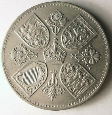 1960 GREAT BRITAIN CROWN - LOW MINTAGE - Uncommon Date Coin - Lot #J19
