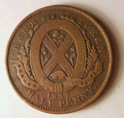 1837 CANADA (LOWER) 1/2 PENNY - Great Coin - RARE  + VALUE - Lot #J19