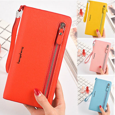 Women Lady PU Leather Clutch Wallet Long Card Holder Purse Box Handbag Bag
