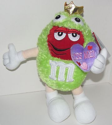 "M&M Green Plush KISS ME Frog Prince 9"" Galerie Stuffed Plush 2004 Mars Candy NEW"