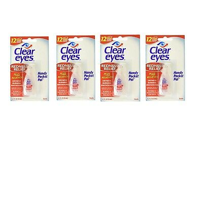 (4 Pack) Clear Eyes Drop REDNESS RELIEF  0.2FL oz Up to 12 Hours RELIEF