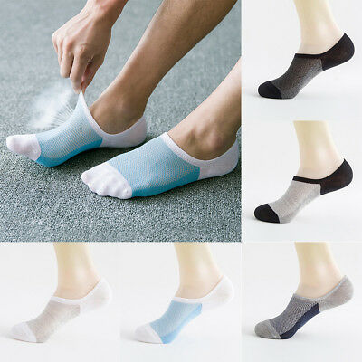 5 Pairs Men's Invisible No Show Non slip Loafer Boat Ankle Low Cut Cotton Socks
