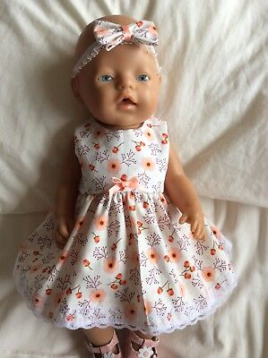 """Doll Clothes to fit 17"""" Baby Born doll ~ Dress & hband  ~ Peach Flowers"""