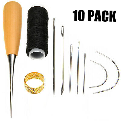 UK 7Pcs Sewing Needles with Leather Waxed Thread Cord Drilling Awl Thimble Kit