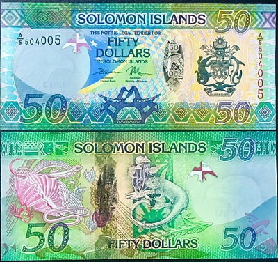 SOLOMON ISLANDS 50 DOLLARS ND 2017 HYBRID PREFIX A/5 P 35 b UNC NR