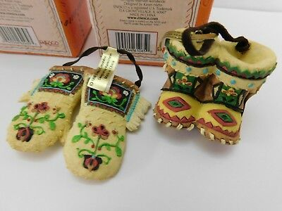 LOT NEW Enesco Friends of the Feather Ornaments 2000 - Mitten + Moccasins