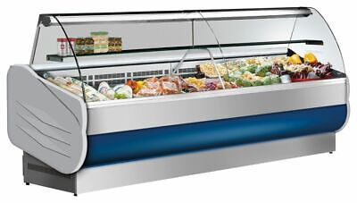 Refrigerated Counter with Curved Tempered Glass, 332 L 3°C 5°C