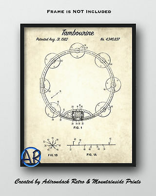 1982 Tambourine Patent Print  -  Vintage Patent Poster