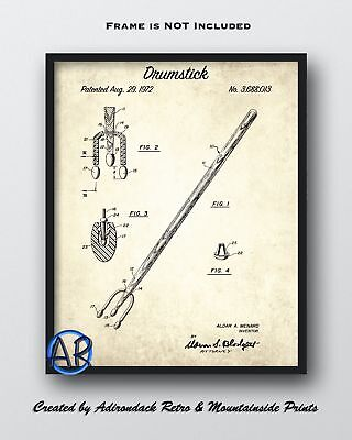 1972 Drumstick Patent Print  -  Vintage Patent Poster