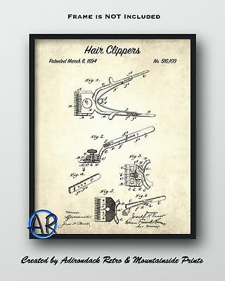 1894 Hair Clippers Patent Art Print  -  Haircut Patent Poster