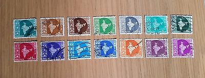 Complete India used stamp sets: 1957-63 Map of India definitive series