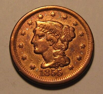 1855 Braided Hair Large Cent Penny - Extra Fine Condition / Cleaned - 51SA