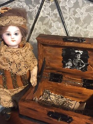 Reproduction Mini Steamer Trunk For French German Antique Mignonette Bisque Doll