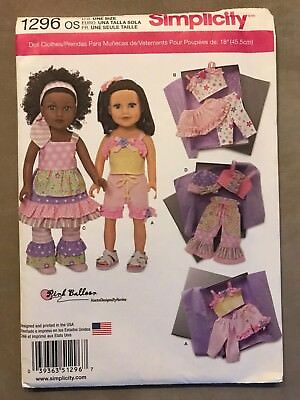 Doll Clothes Sewing Pattern Simplicity# 1296 Os Dress Pants Tops Skirt Dolls New