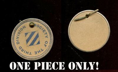 WWI WW1 SOCIETY OF THE THIRD 3rd Division AEF Paper Lapel Disc Badge w/ Patch