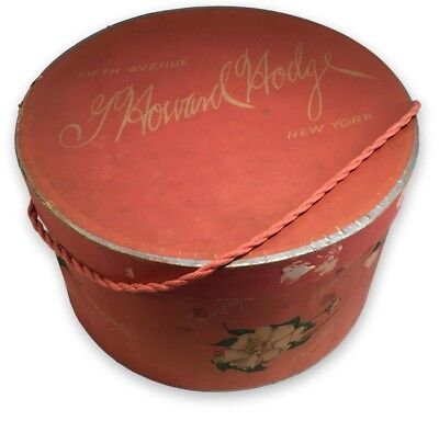 Vintage Millinery Hat Box G. Howard Hodge 5th Ave 1940's New York Pink Shabby