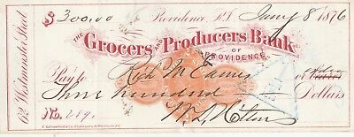 1876 Grocers And Producers Bank, Providence, Rhode Island   1876   Revenue