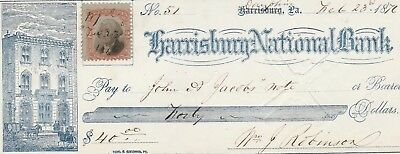 1876  Antique Check   W/revenu   Harrisburg, Pennsylvania    Vignette