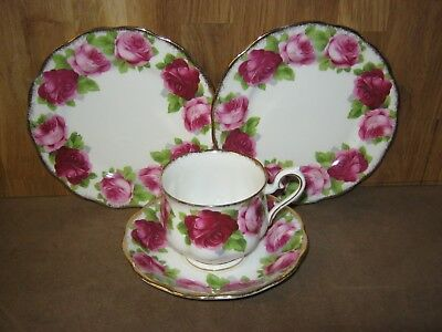Royal Albert Old English Rose Trio + Spare Plate
