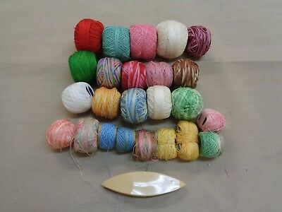 Mixed Lot Of  20  Assorted Tatting Threads & Shuttle