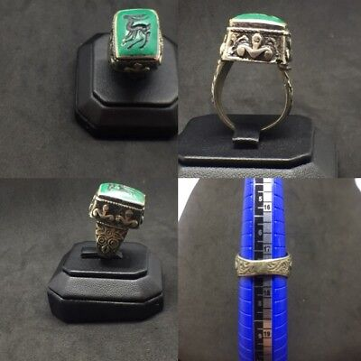 ancient roman bronze ring With Turquoise Seal Intaglio Very Rare Beautiful