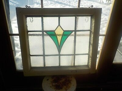 Antique Stained Glass Leaded Window Panel Wood Frame