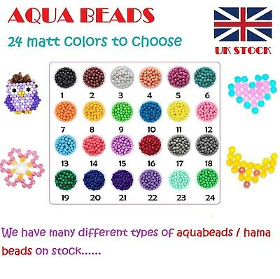 NEW 500/1000 Aquabeads Refill Pack SORTED Matt/Crystal Beads in 24 Colors