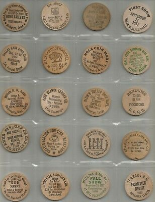 20 Different Wooden Nickels 1958 - 1970's from CA TX LA MS IL WA & Canada