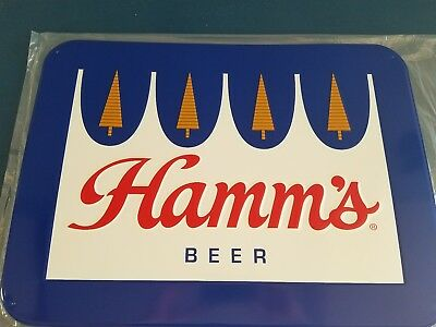 (L@@k) Hamms Beer Crown Logo Tin Bar Sign Land Of Sky Blue Waters Game Room Mn