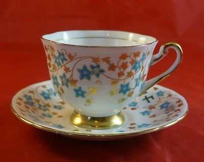 Royal Chelsea Fine Bone China Cup and Saucer Turquois and Gold Flowers