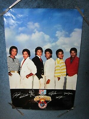 Michael Jackson 1984 Poster World Tour Pepsi Advertisement With Bros. Signatures