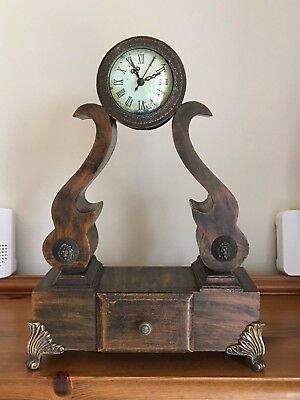 Unusual Tall Wooden Mantle Clock