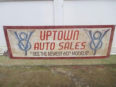 """Vintage UPTOWN AUTO SALES 1960'S GARAGE SIGN """"See the newest 60s Models""""  Cars"""
